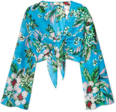 Cropped Floral-print Cotton And Silk-blend Wrap Top - Blue