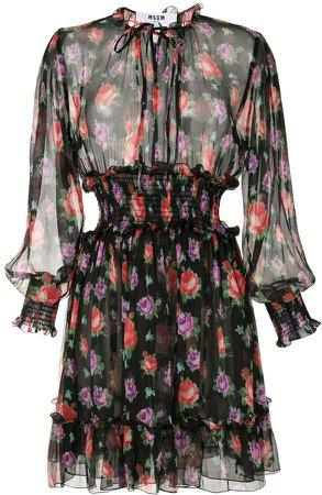 semi-sheer ruched dress