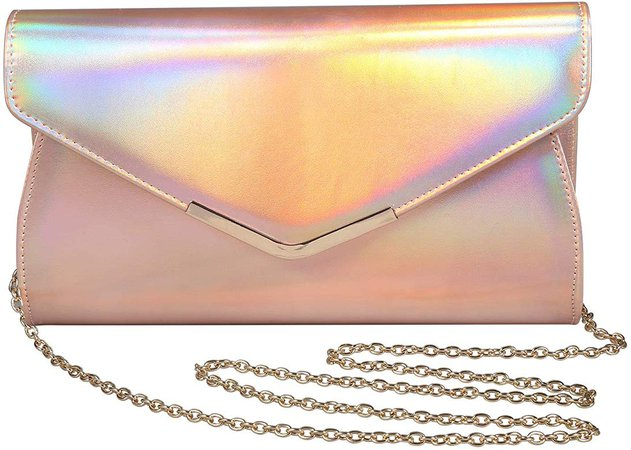 Iridescent Leather Evening Bag Clutch Handbag With Shoulder Strap for Girls Party Wedding Purse Crossbody Bag (Pink): Handbags: Amazon.com