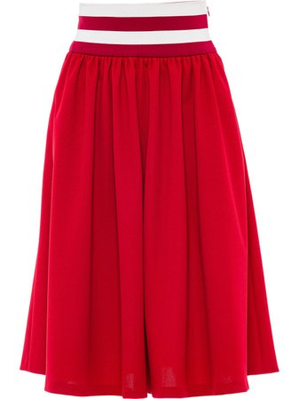 Miu Miu striped-waist midi skirt - FARFETCH