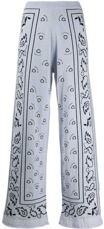 bandana pattern wide-leg trousers