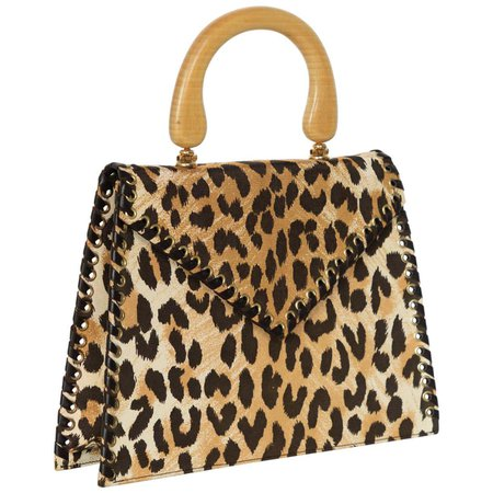 Yves Saint Laurent Leopard Animal Print Canvas Wooden Top Handle Bag, 1990s For Sale at 1stDibs
