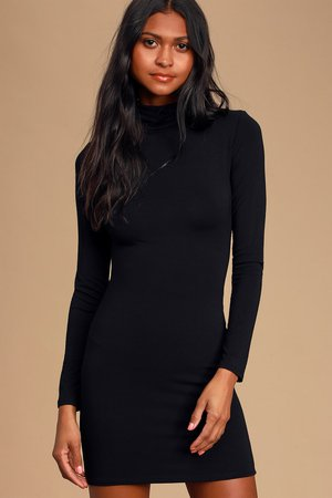 Black Dress - Turtleneck Dress - Black Bodycon Dress - Lulus