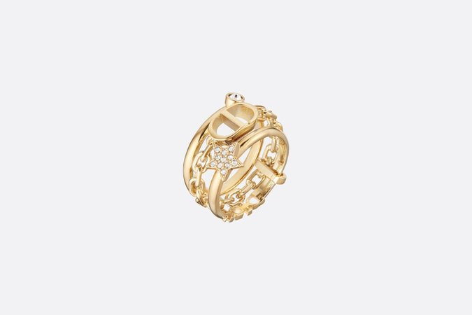 Petit CD Triple Ring Gold-Finish Metal and White Crystals - Fashion Jewellery - Women's Fashion   DIOR