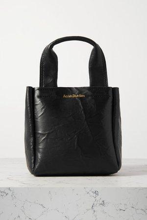 Mini Crinkled-leather Tote - Black