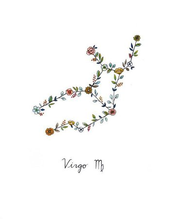 Virgo Constellation Floral