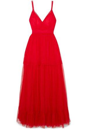STAUD | Mandy tulle maxi dress | NET-A-PORTER.COM