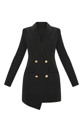 Black Gold Button Blazer Dress   Dresses   PrettyLittleThing USA