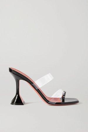 Black Sami crystal-embellished patent-leather and PVC sandals | Amina Muaddi | NET-A-PORTER