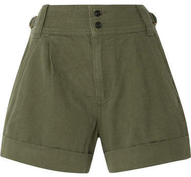 Cotton And Linen-blend Twill Shorts - Army green