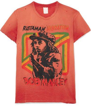 MadeWorn - Bob Marley Distressed Printed Cotton-jersey T-shirt - Red