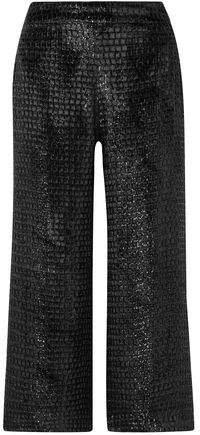 Cropped Metallic Velvet Wide-leg Pants