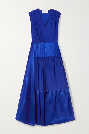 Tiered Silk-charmeuse And Georgette Midi Dress - Blue