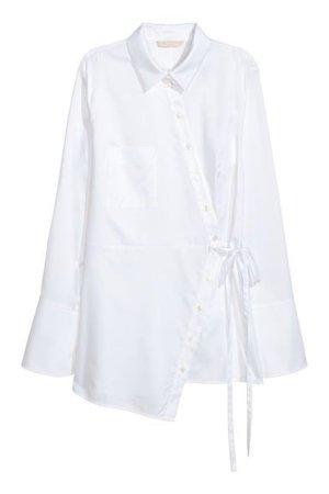 Shirt with Tie Belt - White | H&M
