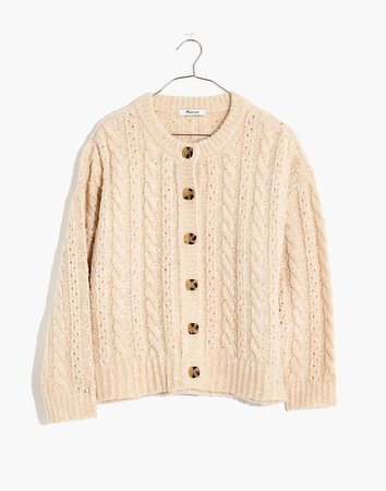Pointelle Cable Cardigan Sweater