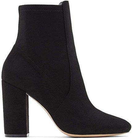 Amazon.com | Aldo Women's Aurella Ankle Boot, Black Micro, 9 | Mid-Calf
