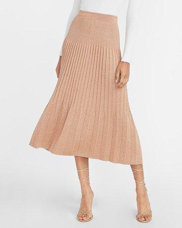 High Waisted Metallic Pleated Midi Sweater Skirt