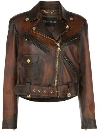 Versace Distressed Biker Jacket - Farfetch