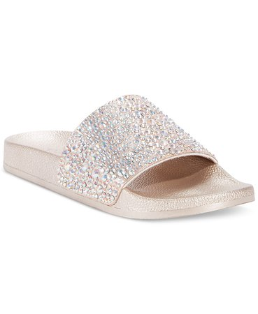 INC International Concepts INC Women's Peymin Pool Slides, Created for Macy's & Reviews - Slippers - Shoes - Macy's silver