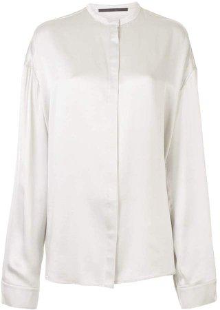 Band Collar Silk Shirt