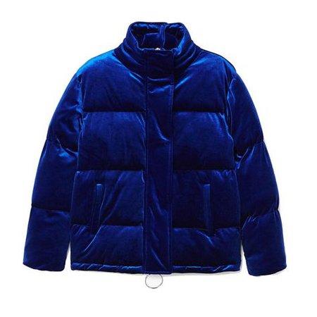 blue velvet puffer jacket