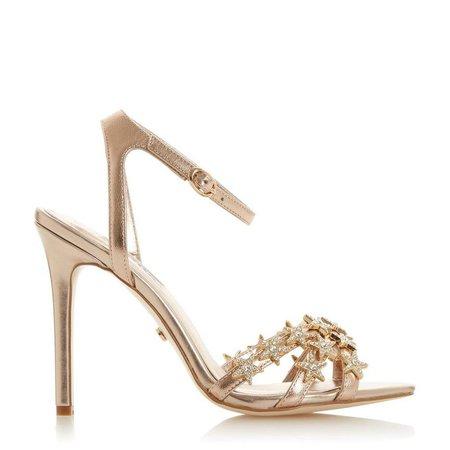MAGICK - Star Embellished High Heel Sandal - rose gold | Dune London