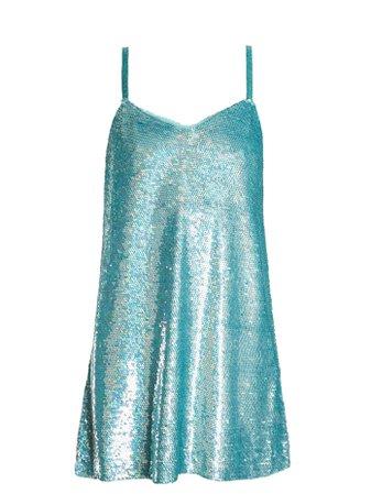 Ashish aqua-blue sequin-embellished silk-georgette mini dress