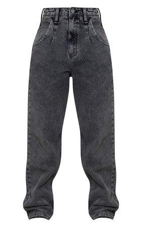 Washed Black Seam Detail Wide Leg Jean | PrettyLittleThing