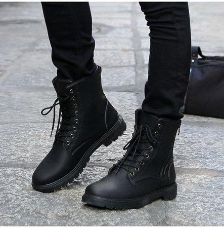 Handmade Men Black Military Boots