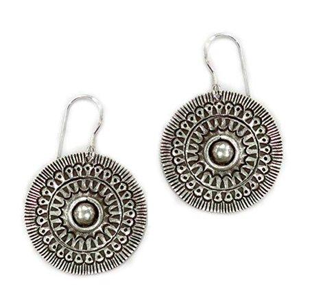 Amazon.com: Sterling Silver Mandala Dangle Boho Earrings, Handmade Geometric Engraved Round Disc Ethnic Hippie Statement Drop Earrings, Gift for Her: Handmade