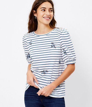 Striped Puff Shoulder Tee