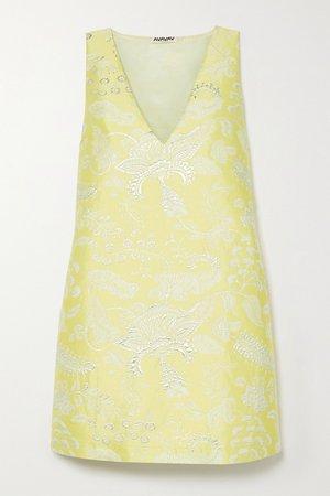 Yellow Metallic floral-jacquard mini dress   AVAVAV   NET-A-PORTER