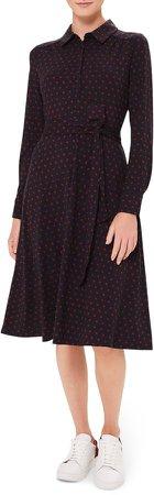 Sandrine Button Front Long Sleeve A-Line Dress