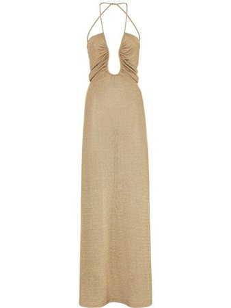 Shop gold Fendi metallic U-neck ruched dress with Express Delivery - Farfetch