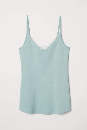 Lace-trimmed Camisole Top - Green