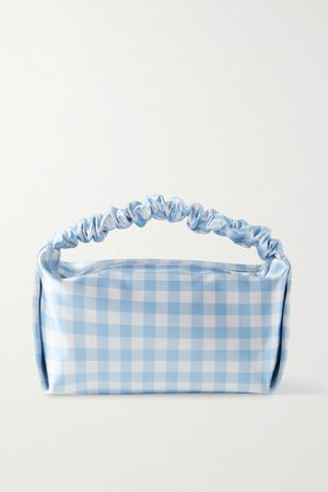 Small Gingham Satin Tote - Sky blue