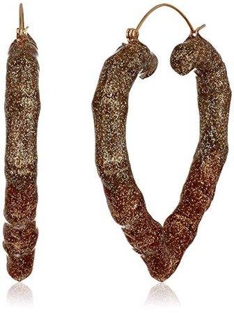 Betsey Johnson Gold Ombre Heart Hoop Earrings, Gold, One Size: Clothing