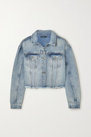 Daggerz Cropped Distressed Denim Jacket - Mid denim