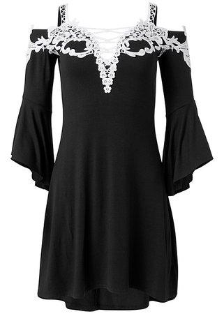 Cold Shoulder Lace Dress in Black & White | VENUS