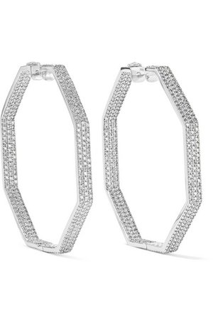 Ofira | Geo 18-karat white gold diamond earrings | NET-A-PORTER.COM