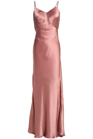 three graces london pink silk-satin slip dress
