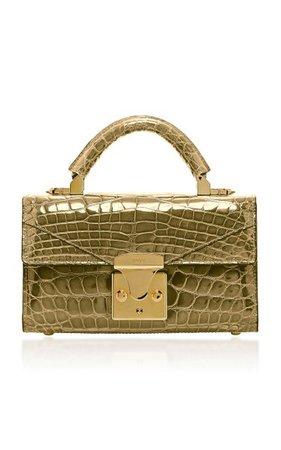 24k Gold Crocodile Mini Top Handle 2.0 Bag By Stalvey   Moda Operandi