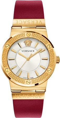 Greca Logo Leather Strap Watch, 38mm