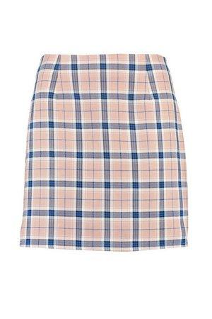 Pastel Check A Line Mini Skirt | boohoo