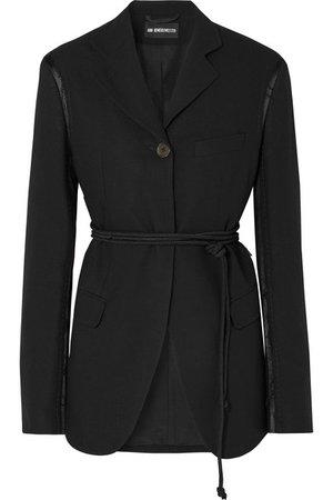 Ann Demeulemeester | Distressed belted satin-trimmed wool blazer | NET-A-PORTER.COM