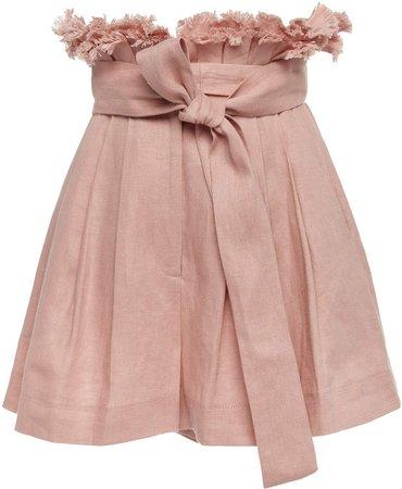 Jolan Tie-Front Pleated Linen Shorts