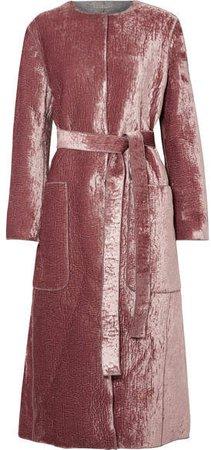 Crushed-velvet Coat - Pink
