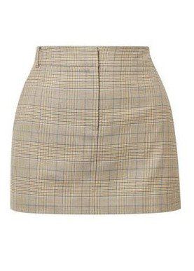 Beige Plaid Short Skirt