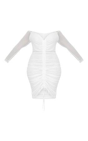 Plus White Mesh Ruched Bardot Midi Dress | PrettyLittleThing USA