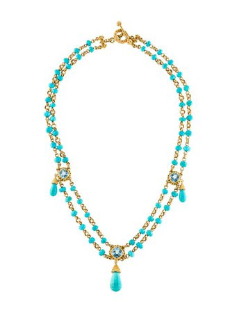 Stephen Dweck 18K Turquoise & Spice Double Strand Collar Necklace - Necklaces - STD23722 | The RealReal